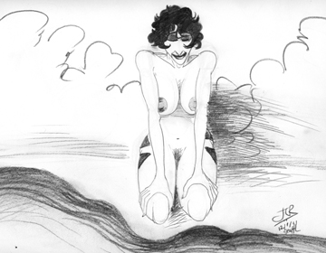 Vladrushka Sketch: Kneeling, Water (c)2011 John Linton Roberson