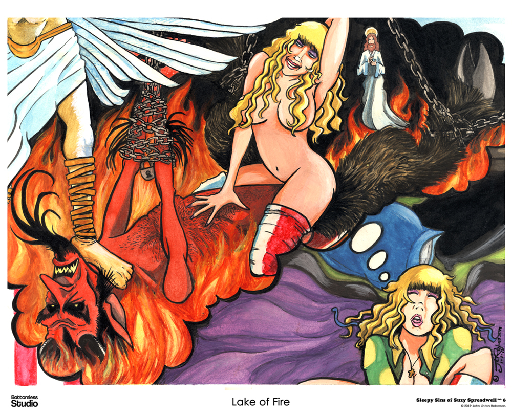 "The Sleepy Sins of Suzy Spreadwell 6 - ""Lake of Fire"" (painting) (c)2019 John Linton Roberson"